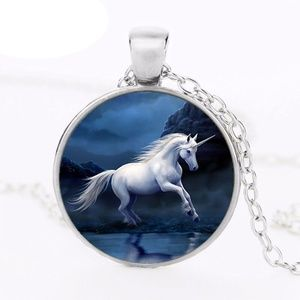 Unicorn Glass Dome Pendant Necklace